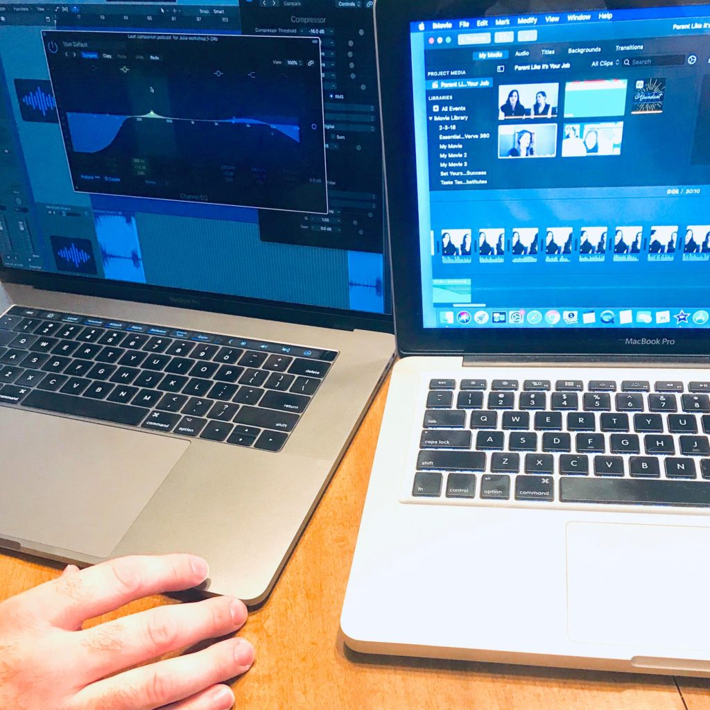 Dueling computers as Daniel teaches me to take over the post production on my podcast!  podcast production podcaster production suport